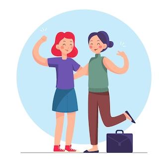 Mão desenhada mulheres empreendedoras confiantes