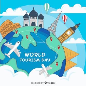Mão desenhada mundo do turismo dia com pinpoints