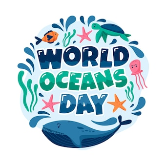 Mão desenhada mundo oceanos dia e conceito de peixe
