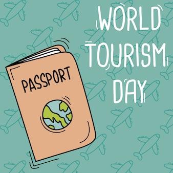 Mão desenhada mundo turismo dia fundo com um passaport