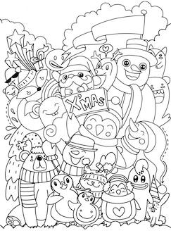 Mão desenhada natal conjunto de caracteres doodle, ilustração vetorial