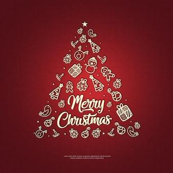 Mão desenhada natal elemento sobre fundo vermelho com mandala