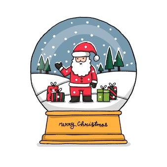 Mão desenhada natal globo de papai noel