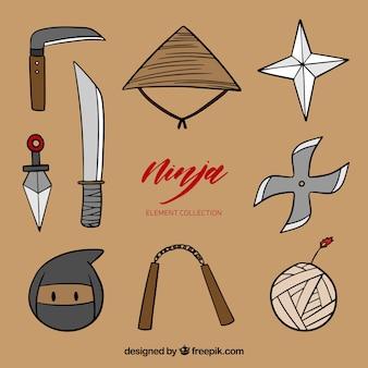 Mão desenhada ninja coleção de elementos do guerreiro