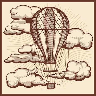 Mão desenhada nuvens e desenho vintage de balão de ar