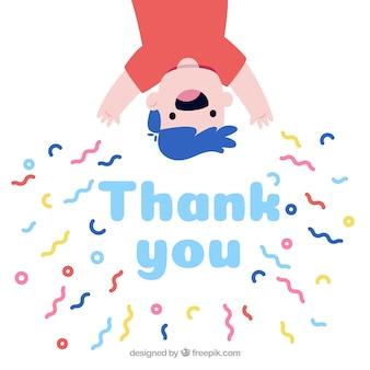 Mão desenhada obrigado composição com confete
