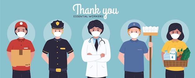 Mão desenhada, obrigado, trabalhadores essenciais