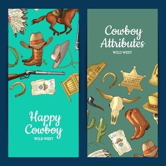 Mão desenhada oeste selvagem cowboy elementos web banner