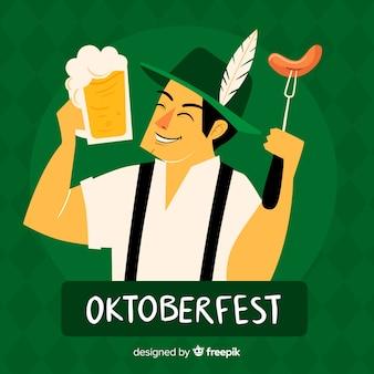 Mão desenhada oktoberfest com homem bávaro feliz