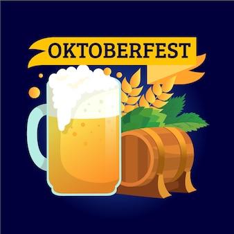 Mão desenhada oktoberfest fundo com cerveja