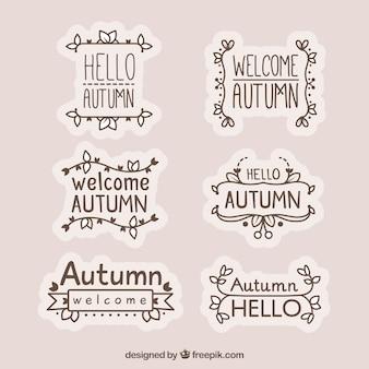 Mão desenhada olá coleção de rótulo de outono