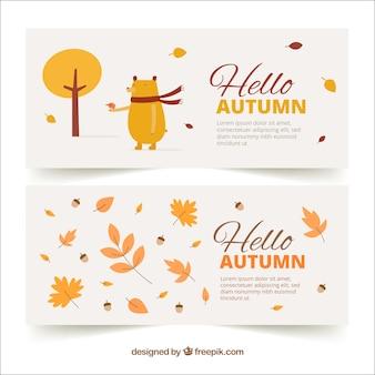 Mão desenhada olá outono banners