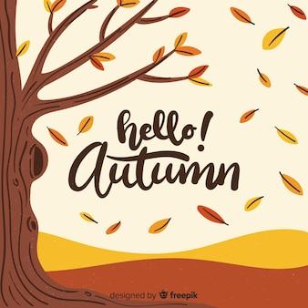 Mão desenhada olá outono letras fundo