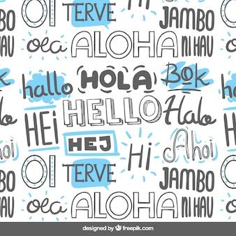 Mão desenhada olá padrão de palavra em diferentes idiomas
