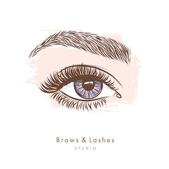 Mão desenhada olhos femininos bonitos com cílios pretos longos e sobrancelhas