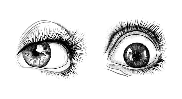 Mão desenhada olhos