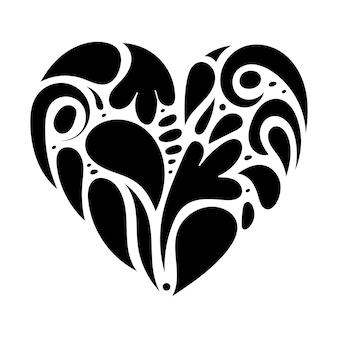 Mão desenhada ornamento forma de coração doodle símbolo de amor para cartão romântico dia dos namorados