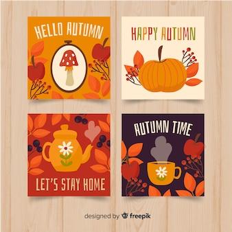 Mão desenhada outono cartões collectio