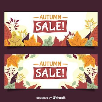 Mão desenhada outono coleção de banners de venda
