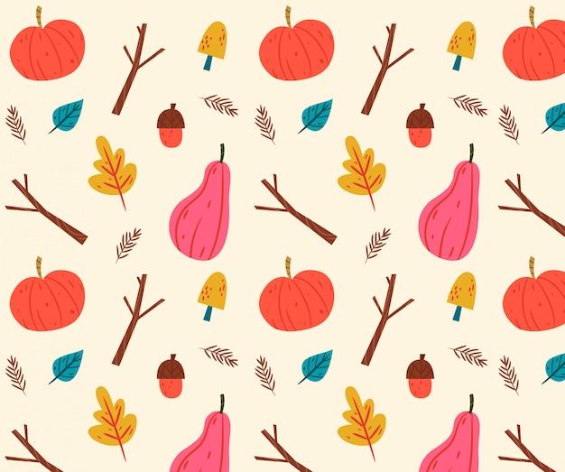 Mão desenhada outono fundo com abóbora