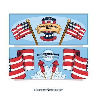 Mão desenhada pacote de bandeiras indepence eua