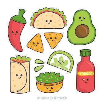 Mão desenhada pacote de comida mexicana kawaii