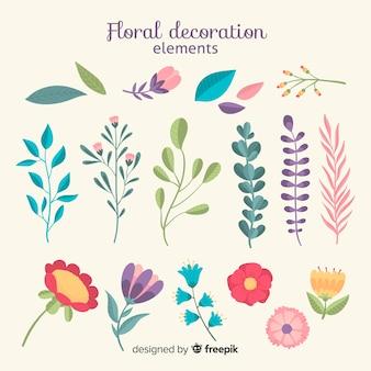 Mão desenhada pacote de elemento ornamental floral