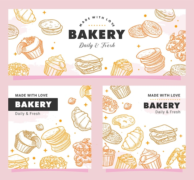 Mão desenhada padaria, pastelaria, pequeno-almoço, pão, doces, sobremesa, ilustração