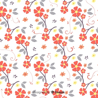 Mão desenhada padrão floral