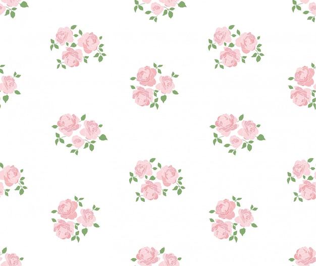 Mão desenhada padrão rústico de luz com rosas