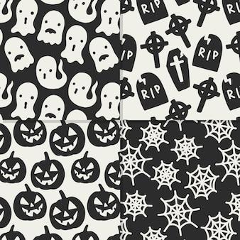 Mão desenhada padrões de halloween