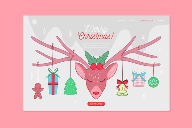 Mão desenhada página inicial de natal com rena rosa