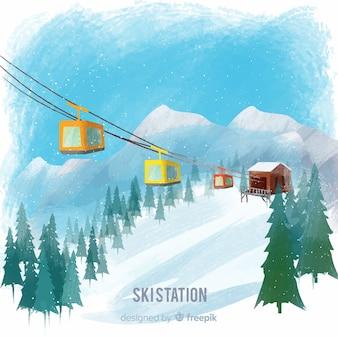 Mão desenhada paisagem de inverno funicular