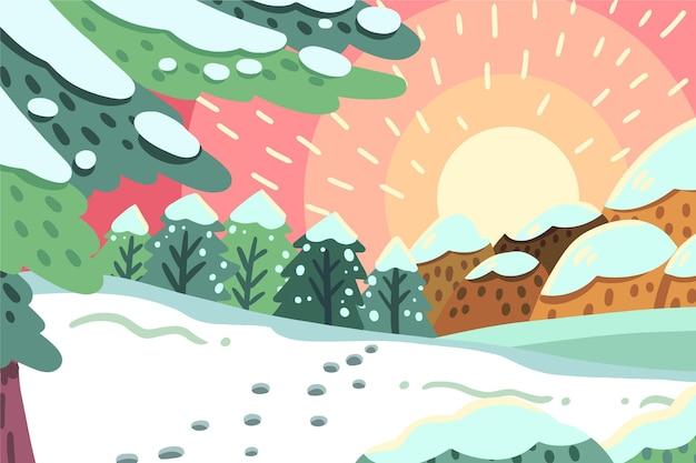 Mão desenhada paisagem de inverno