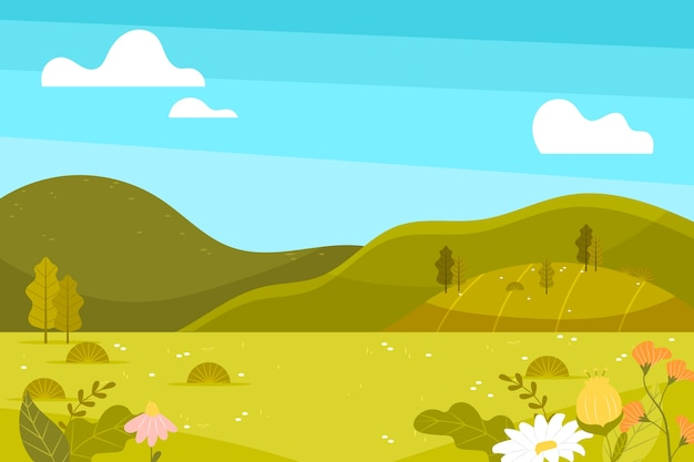 Mão desenhada paisagem de primavera