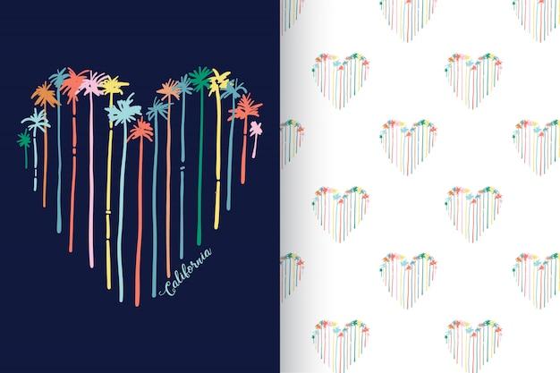 Mão desenhada palmeira de forma de coração com padrão vector set