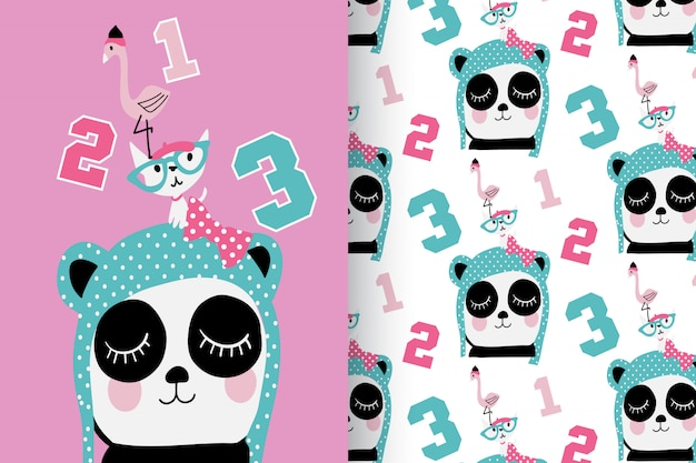 Mão desenhada panda bonito, gatinho & flamingo com padrão vector set