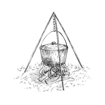 Mão desenhada panela em chamas. esboce a caminhada e a ilustração desenhada mão de acampamento. cozinhando. estilo de gravura.