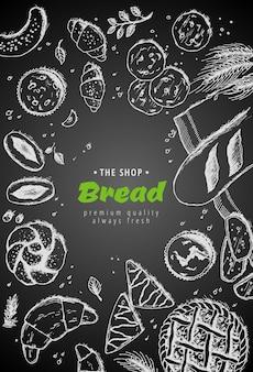 Mão desenhada pão com trigo, farinha no escuro