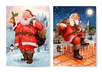 Mão desenhada Papai Noel cartão de Natal conjunto