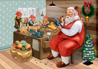 Mão desenhada Papai Noel fazendo presentes de Natal