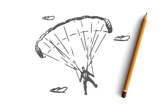 Mão desenhada paraquedista em um esboço do conceito de paraquedas esportivos