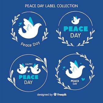 Mão desenhada paz dia pomba etiqueta coleção
