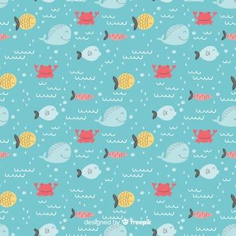 Mão desenhada peixe doodle padrão
