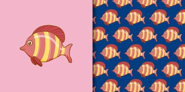 Mão desenhada peixe rosa com padrão sem emenda
