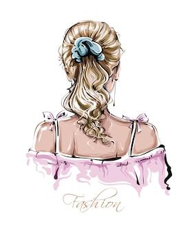 Mão desenhada penteado de mulher jovem e bonita. elegante cabelo loiro feminino. olhar de moda mulher.