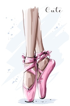 Mão desenhada pernas de bailarina em sapatilhas de ponta
