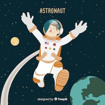 Mão desenhada personagem astronauta no espaço