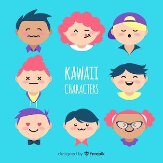 Mão desenhada personagens kawaii enfrenta coleção