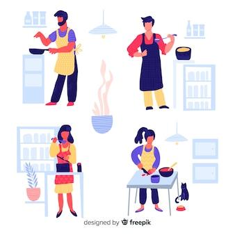 Mão desenhada pessoa cozinhar coleção